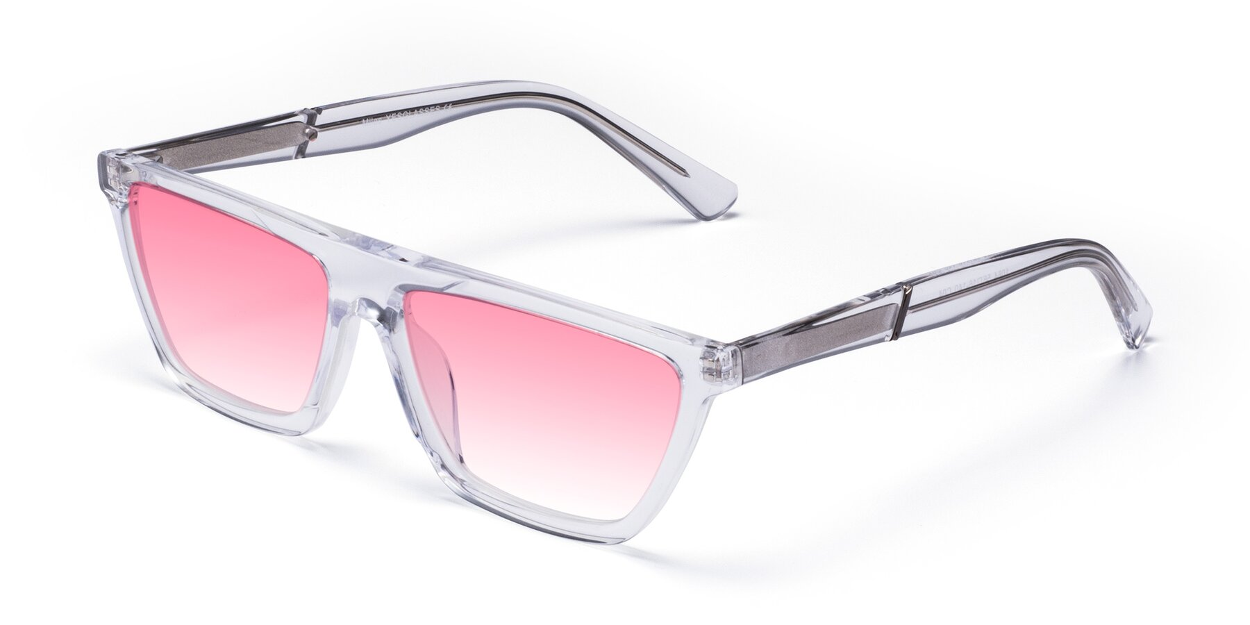 Angle of Miles in Clear with Pink Gradient Lenses