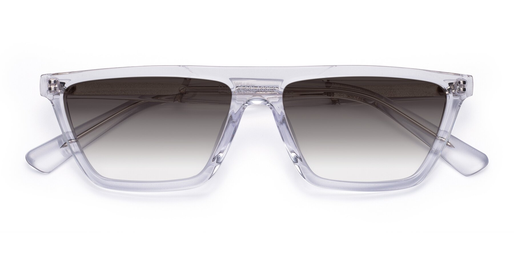 Folded Front of Miles in Clear with Gray Gradient Lenses