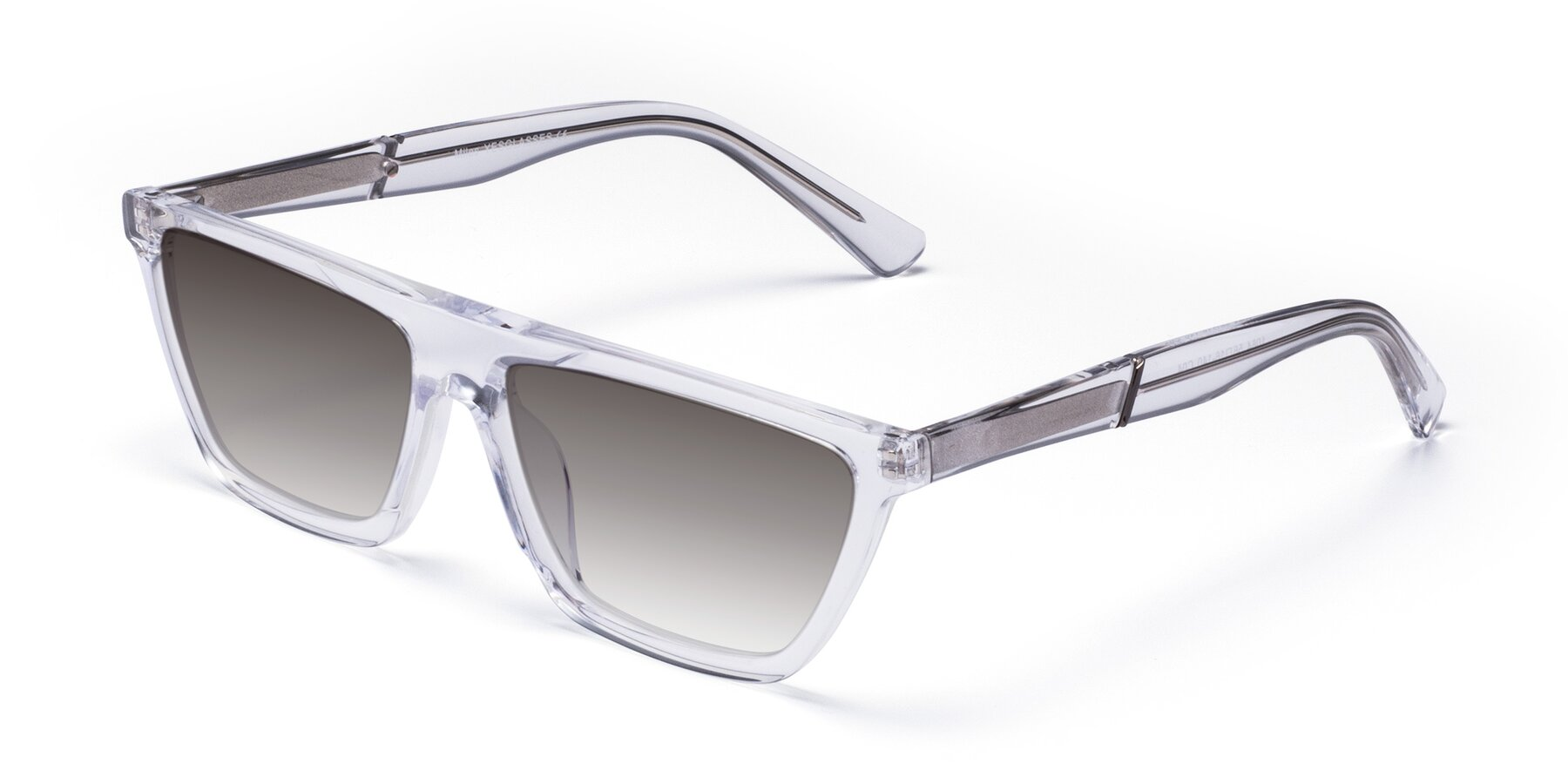 Angle of Miles in Clear with Gray Gradient Lenses