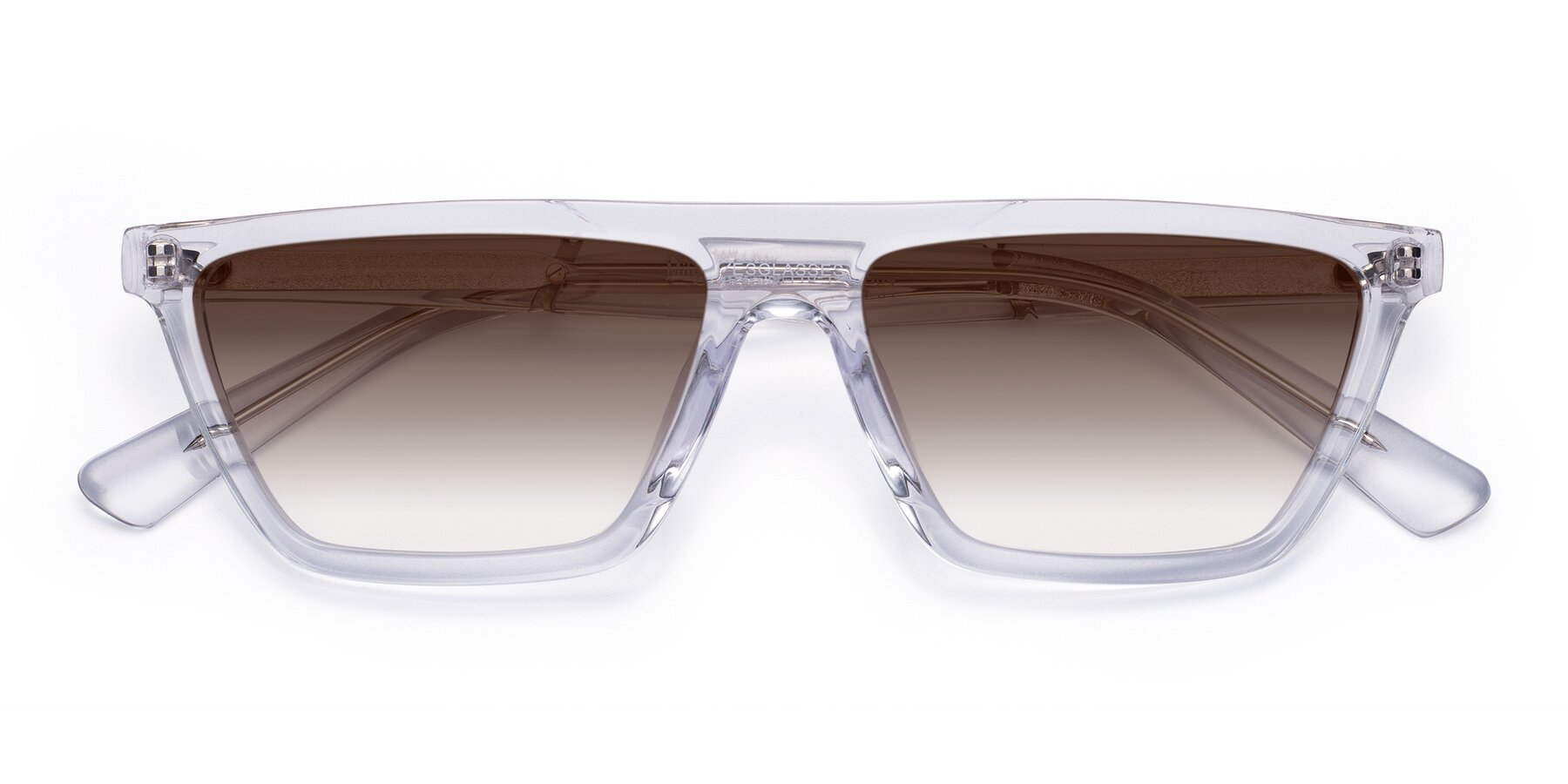 Folded Front of Miles in Clear with Brown Gradient Lenses