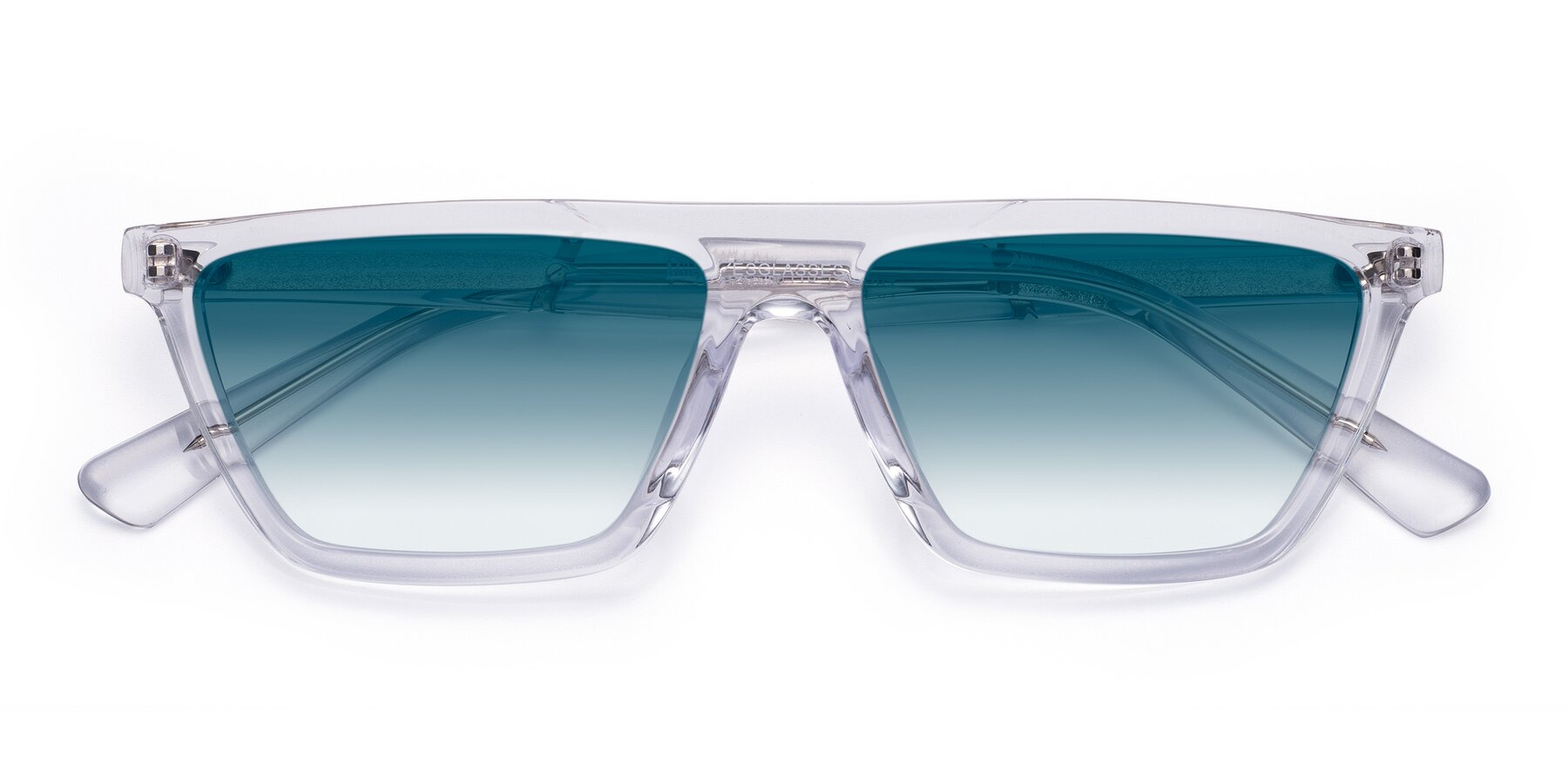 Folded Front of Miles in Clear with Blue Gradient Lenses