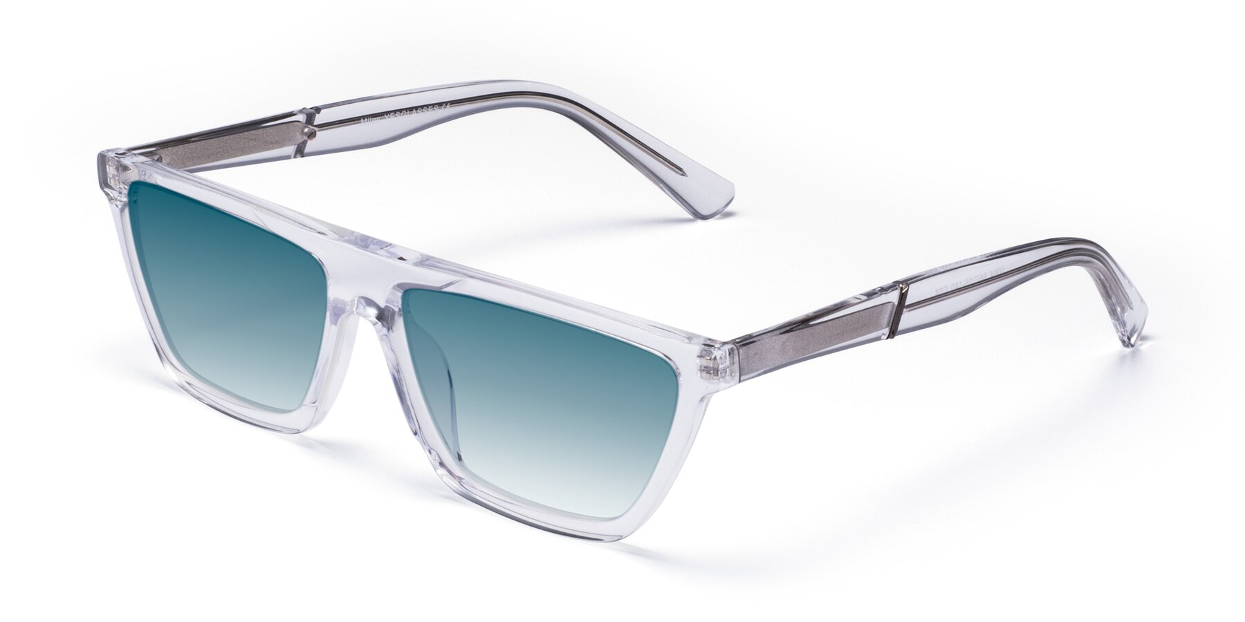 Angle of Miles in Clear with Blue Gradient Lenses