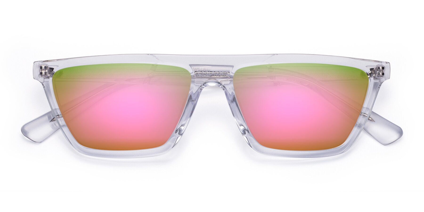 Folded Front of Miles in Clear with Pink Mirrored Lenses