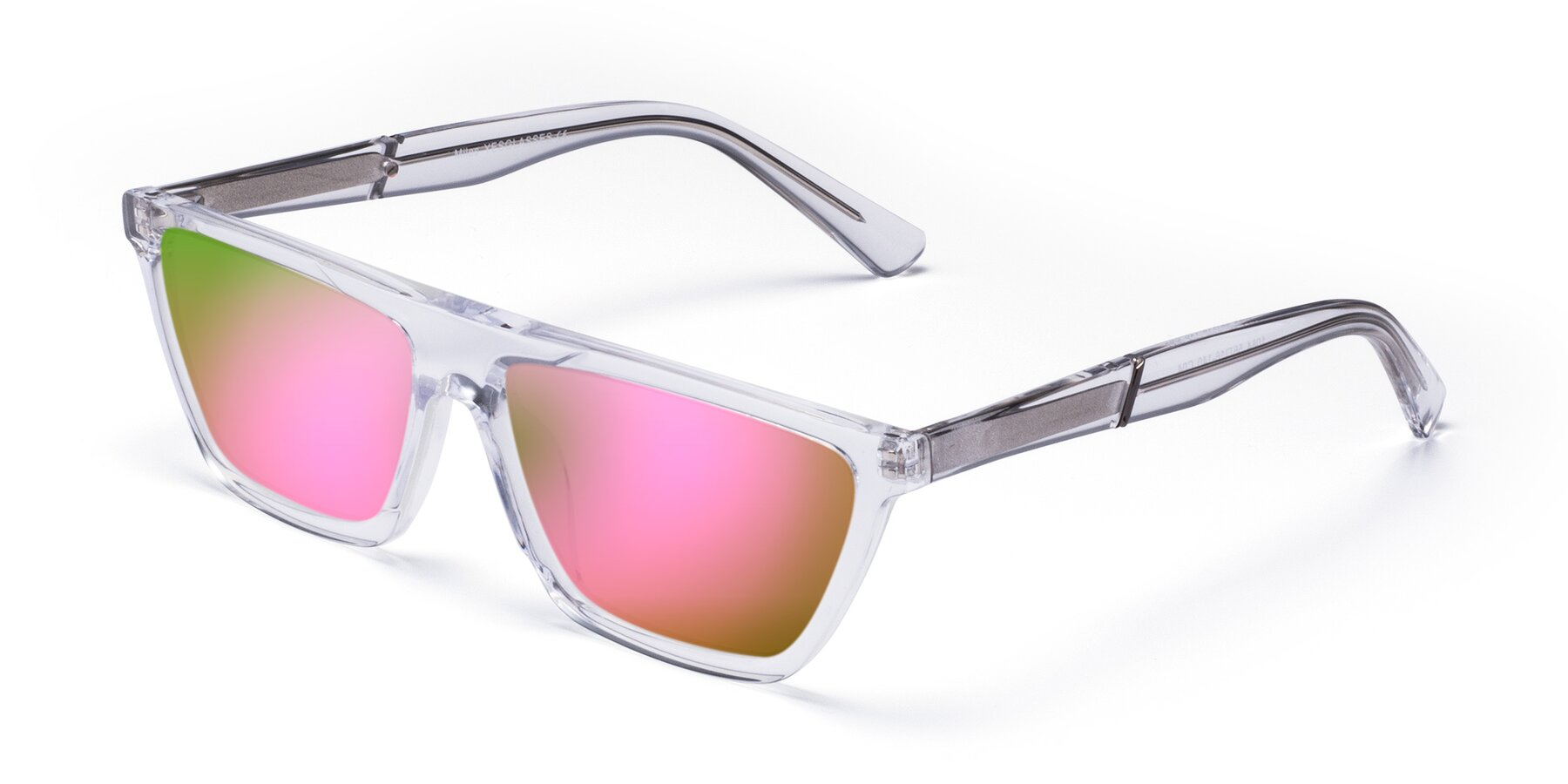 Angle of Miles in Clear with Pink Mirrored Lenses