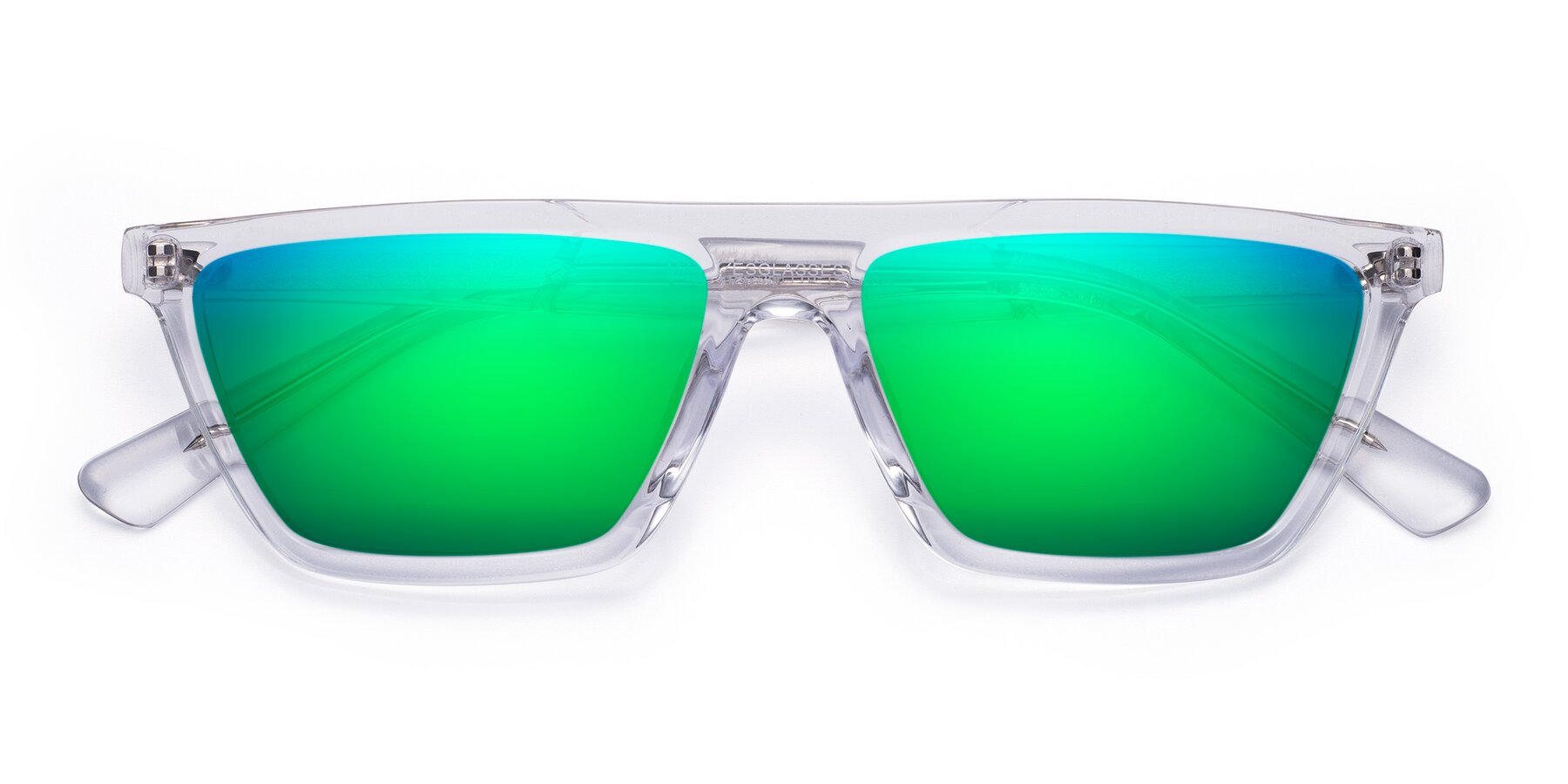Folded Front of Miles in Clear with Green Mirrored Lenses