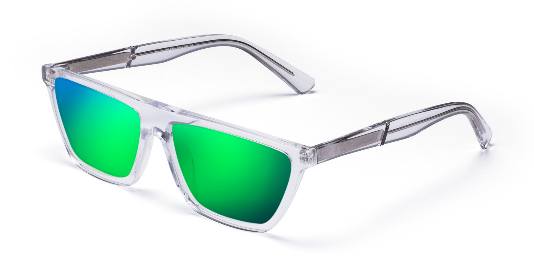 Angle of Miles in Clear with Green Mirrored Lenses