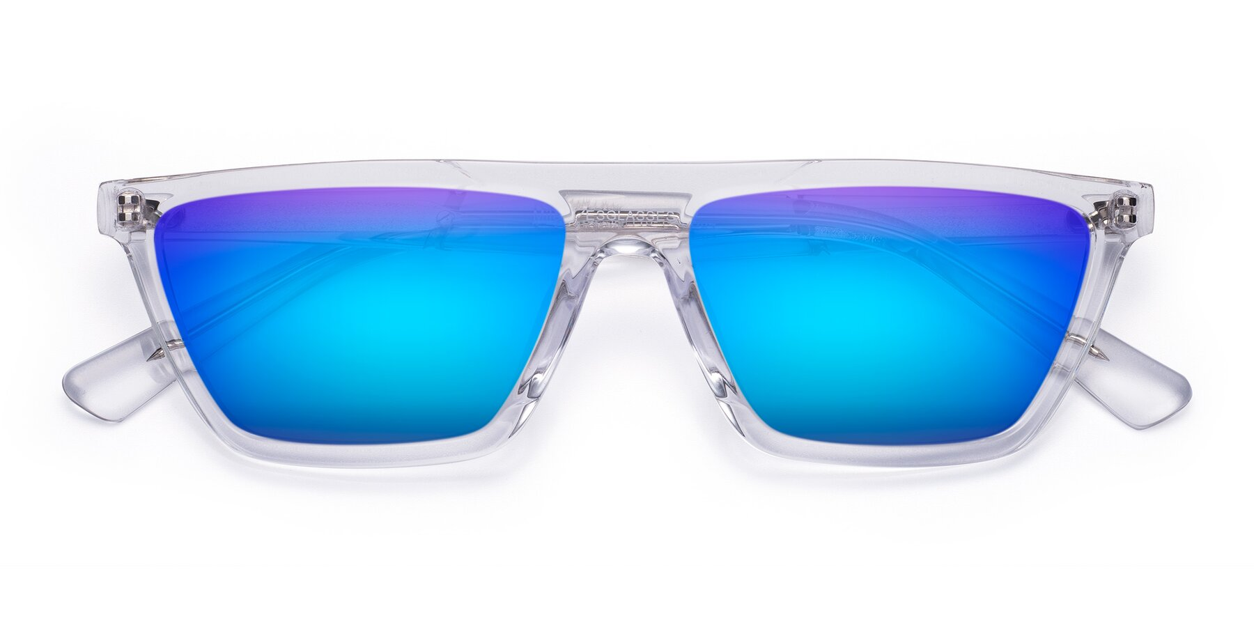 Folded Front of Miles in Clear with Blue Mirrored Lenses