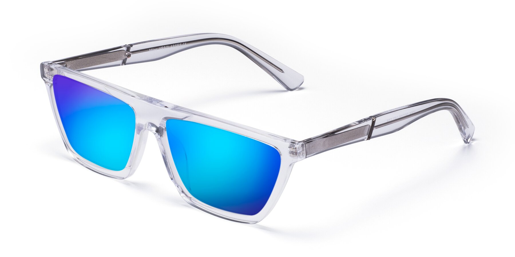 Angle of Miles in Clear with Blue Mirrored Lenses