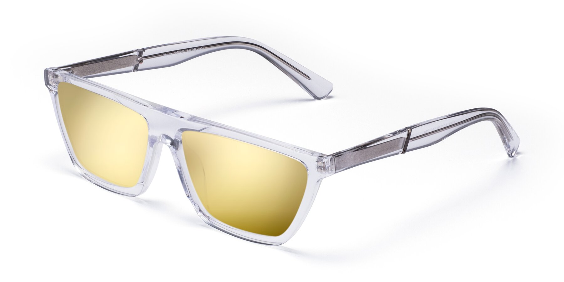 Angle of Miles in Clear with Gold Mirrored Lenses