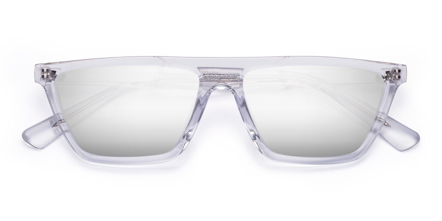 Folded Front of Miles in Clear with Silver Mirrored Lenses
