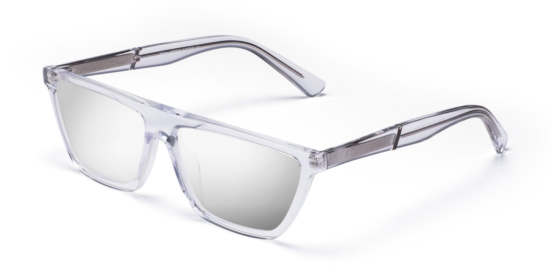 Angle of Miles in Clear with Silver Mirrored Lenses