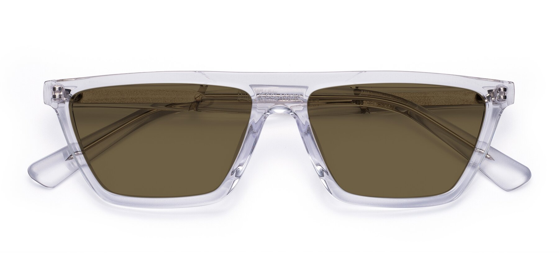 Folded Front of Miles in Clear with Brown Polarized Lenses