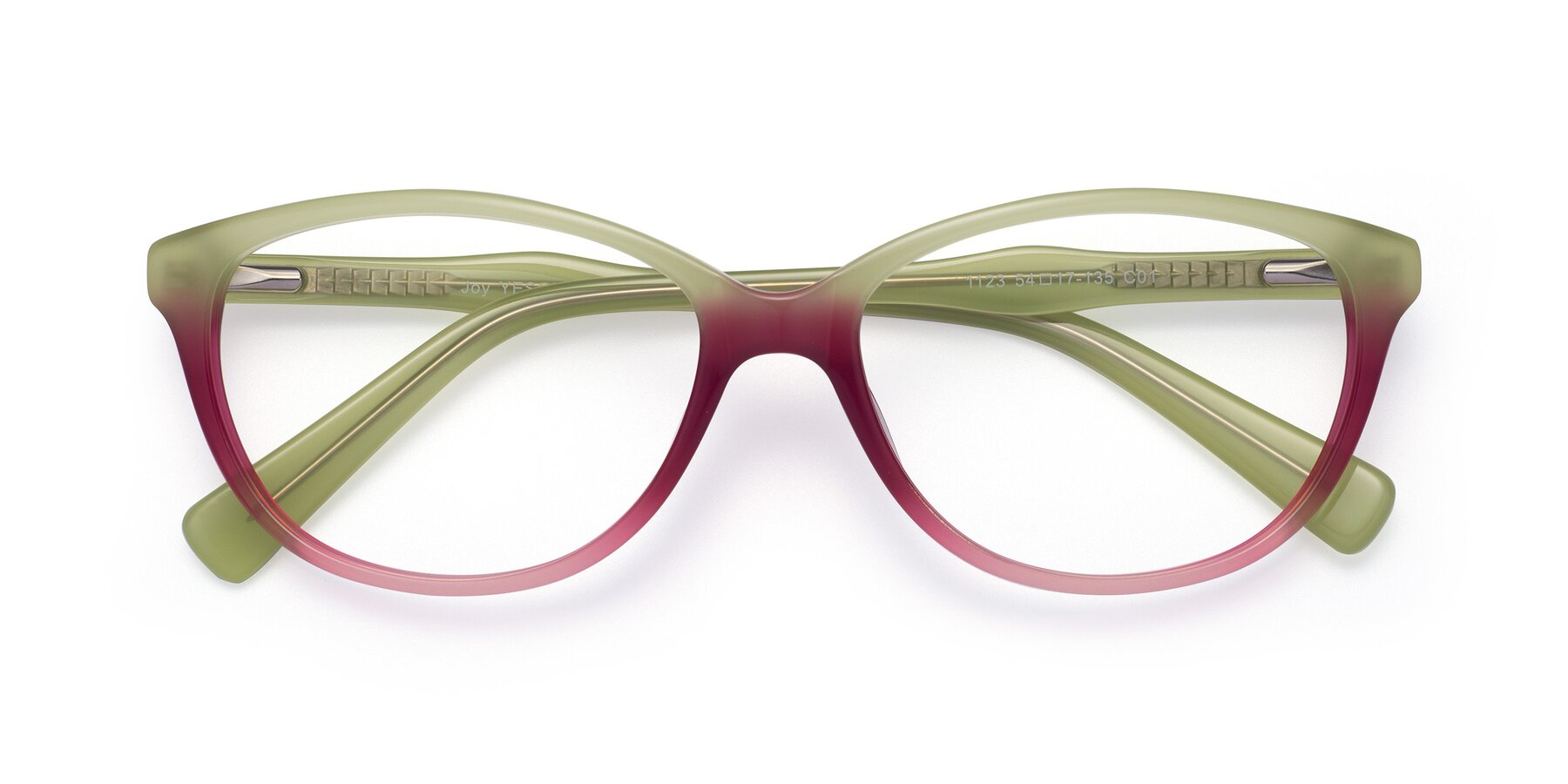 Folded Front of Joy in Floral Green-Purple with Clear Eyeglass Lenses
