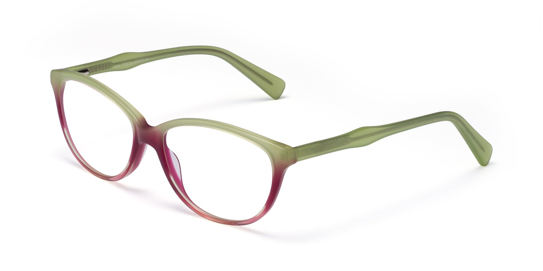 Angle of Joy in Floral Green-Purple with Clear Eyeglass Lenses