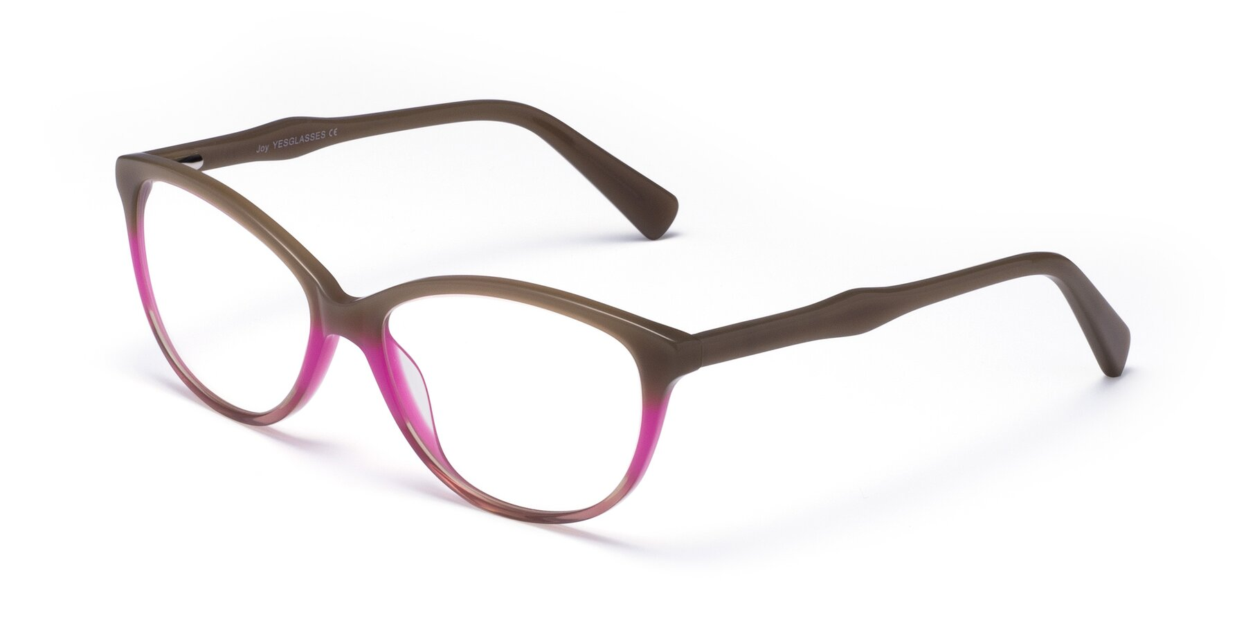 Angle of Joy in Floral Tan-Pink with Clear Eyeglass Lenses