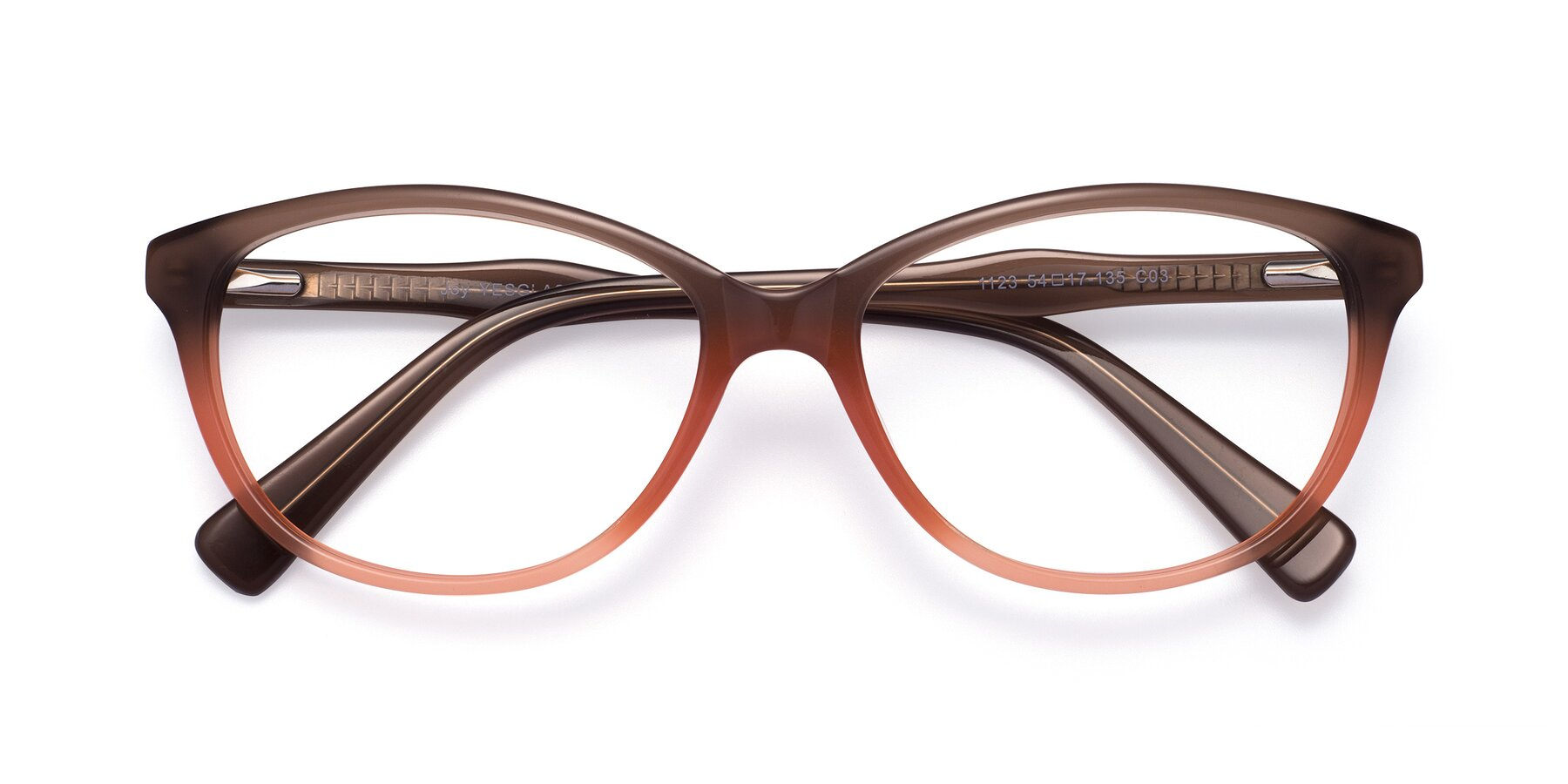Folded Front of Joy in Floral Brown-Coral with Clear Eyeglass Lenses