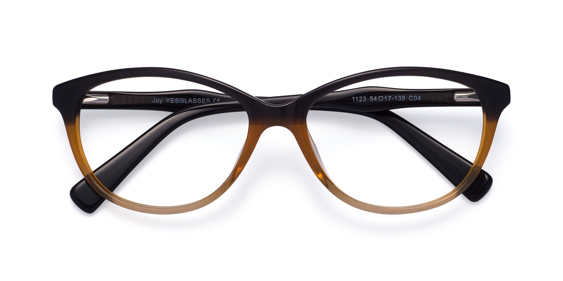 Folded Front of Joy in Floral Gray-Brown with Clear Blue Light Blocking Lenses
