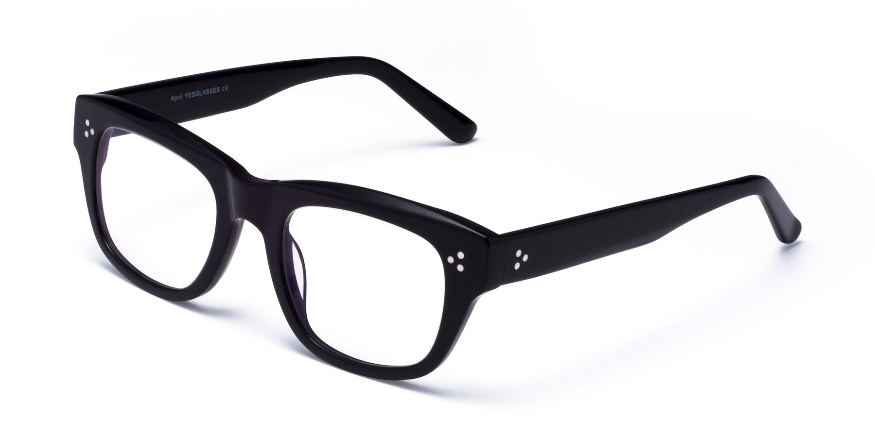 Angle of April in Black with Clear Eyeglass Lenses