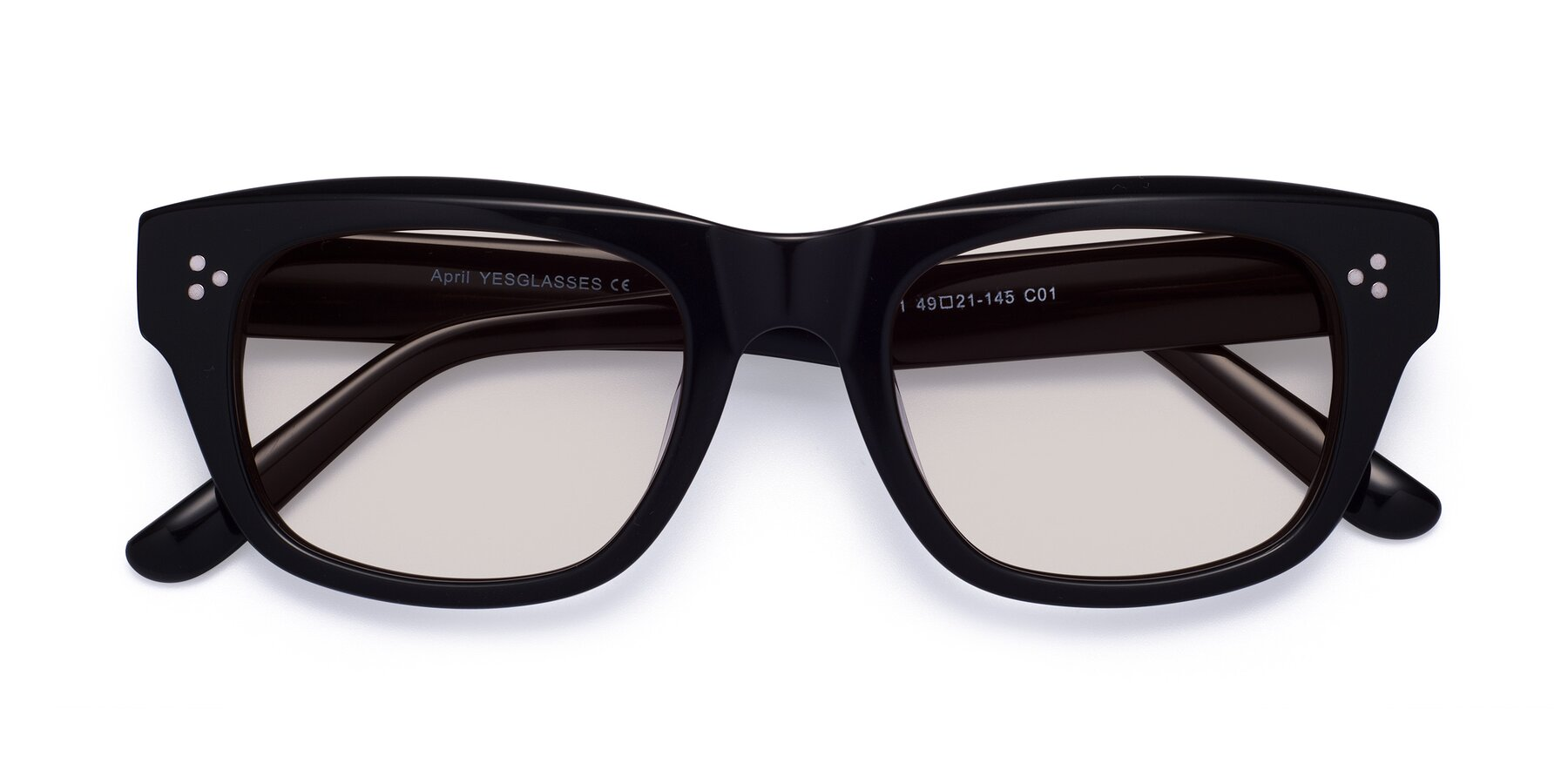 Folded Front of April in Black with Light Brown Tinted Lenses