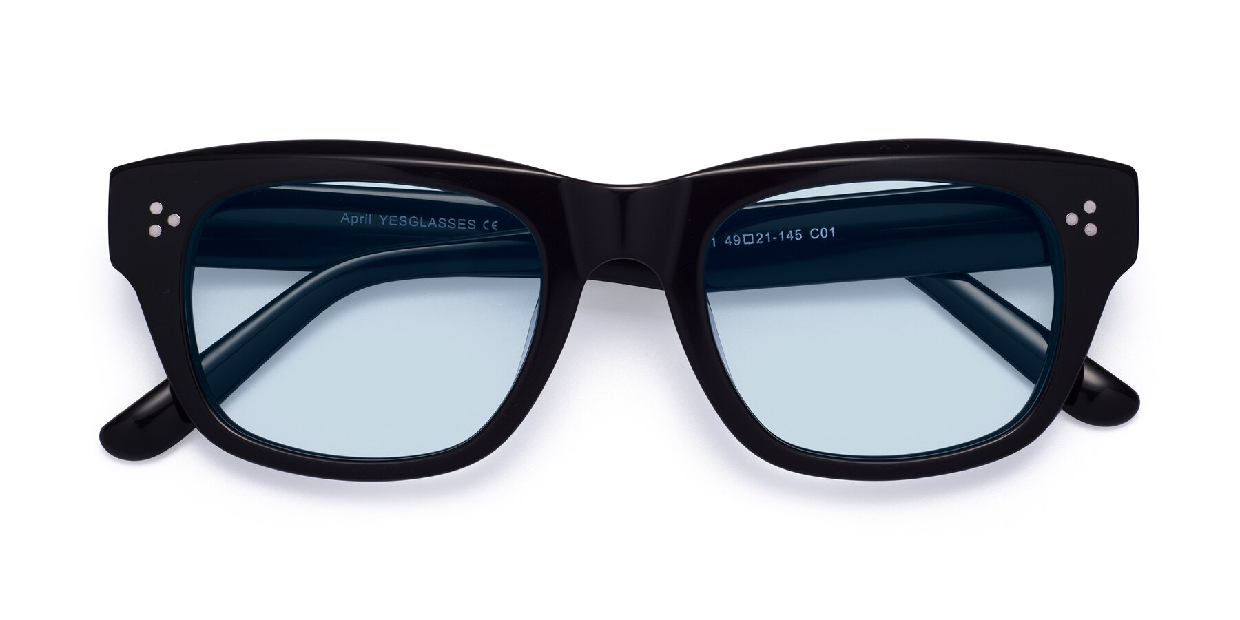 Folded Front of April in Black with Light Blue Tinted Lenses