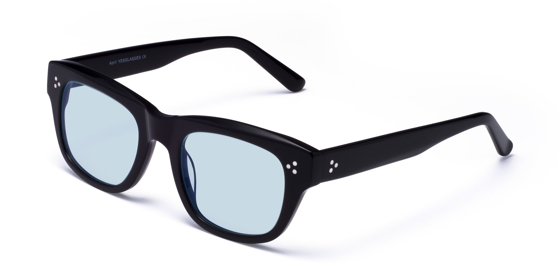 Angle of April in Black with Light Blue Tinted Lenses