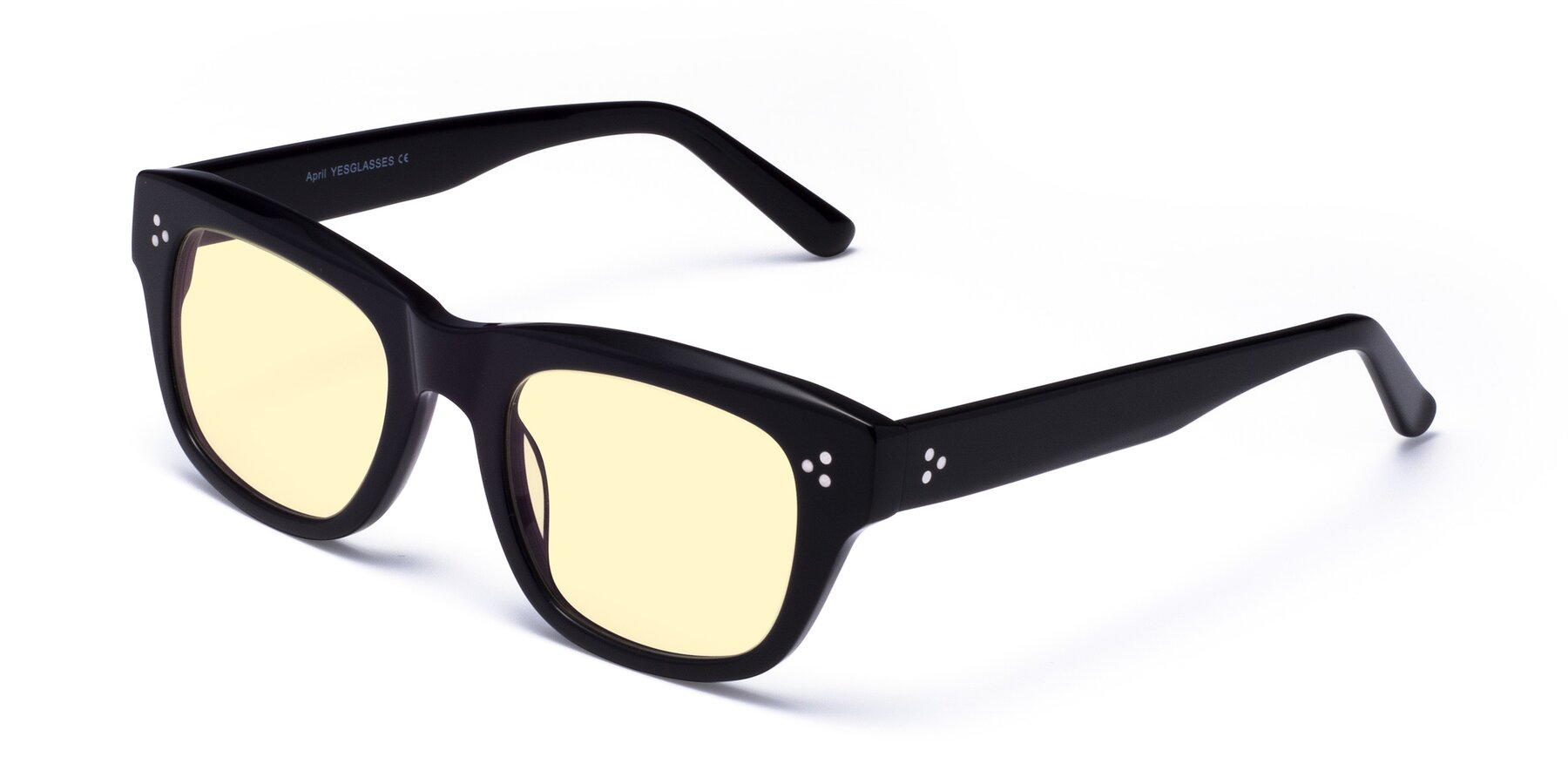Angle of April in Black with Light Yellow Tinted Lenses