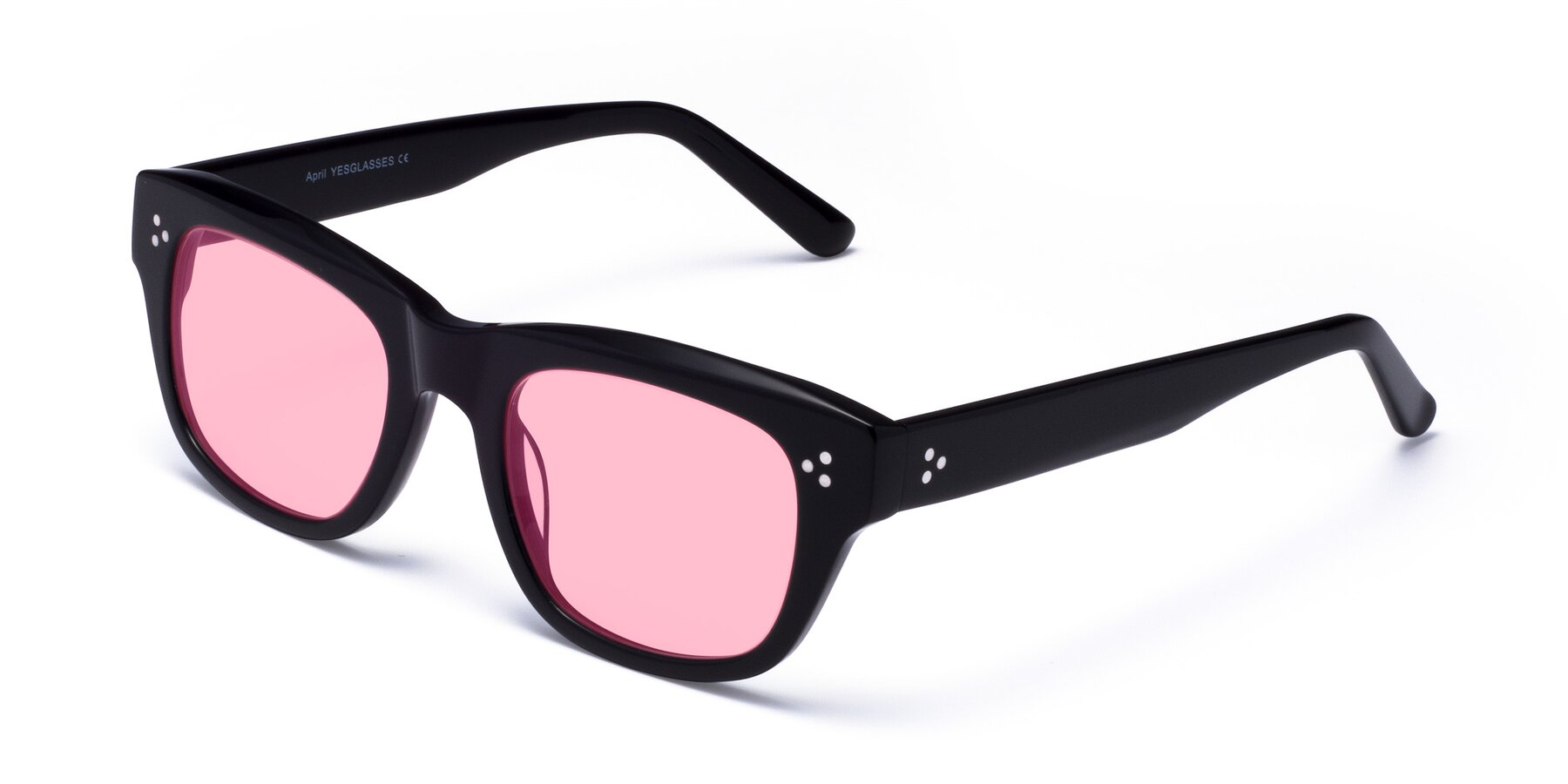 Angle of April in Black with Medium Pink Tinted Lenses