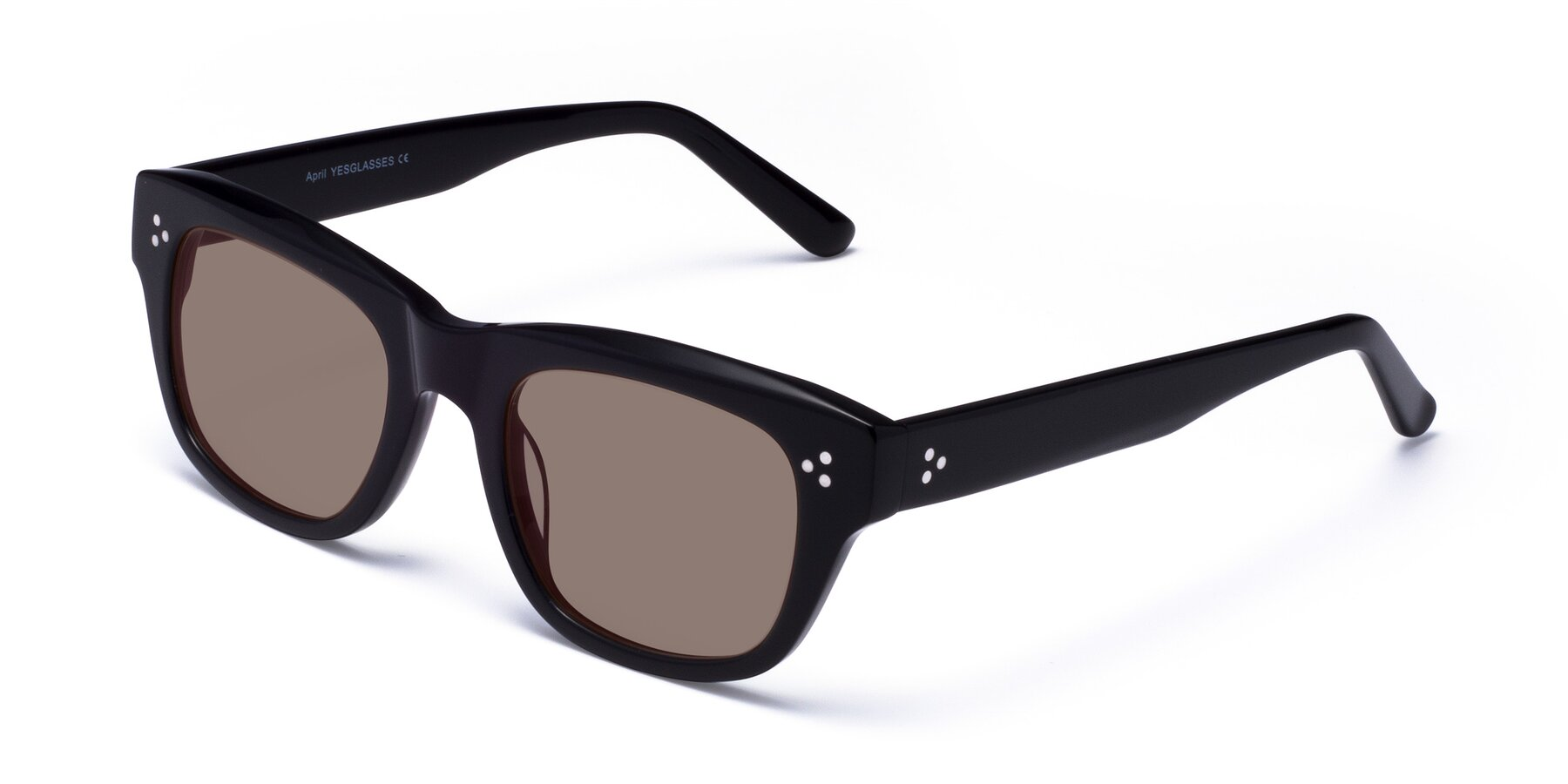 Angle of April in Black with Medium Brown Tinted Lenses