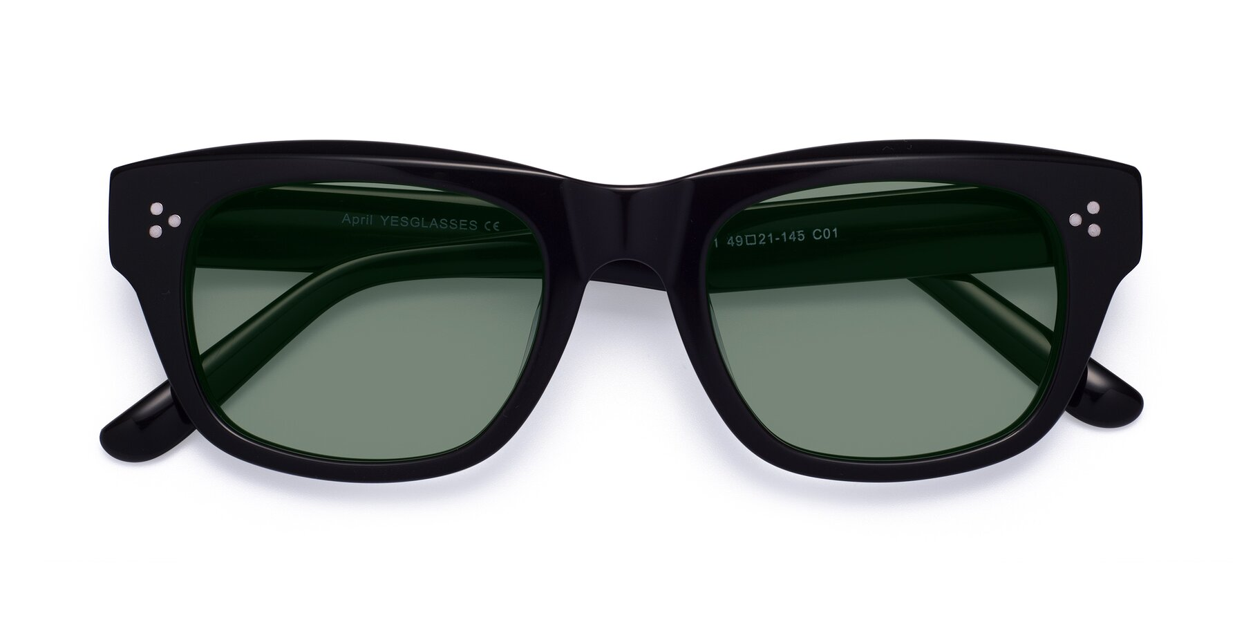 Folded Front of April in Black with Medium Green Tinted Lenses