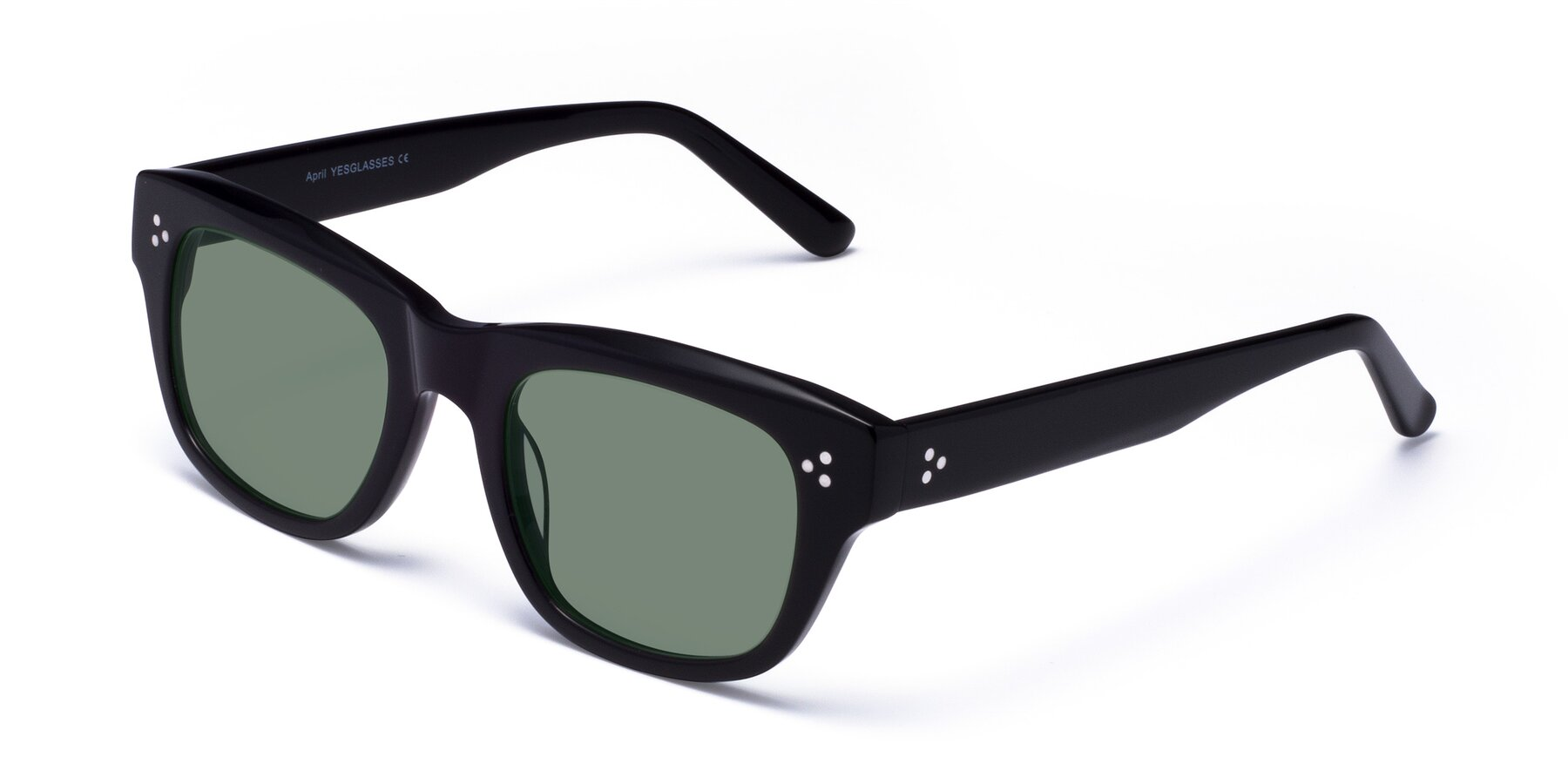 Angle of April in Black with Medium Green Tinted Lenses
