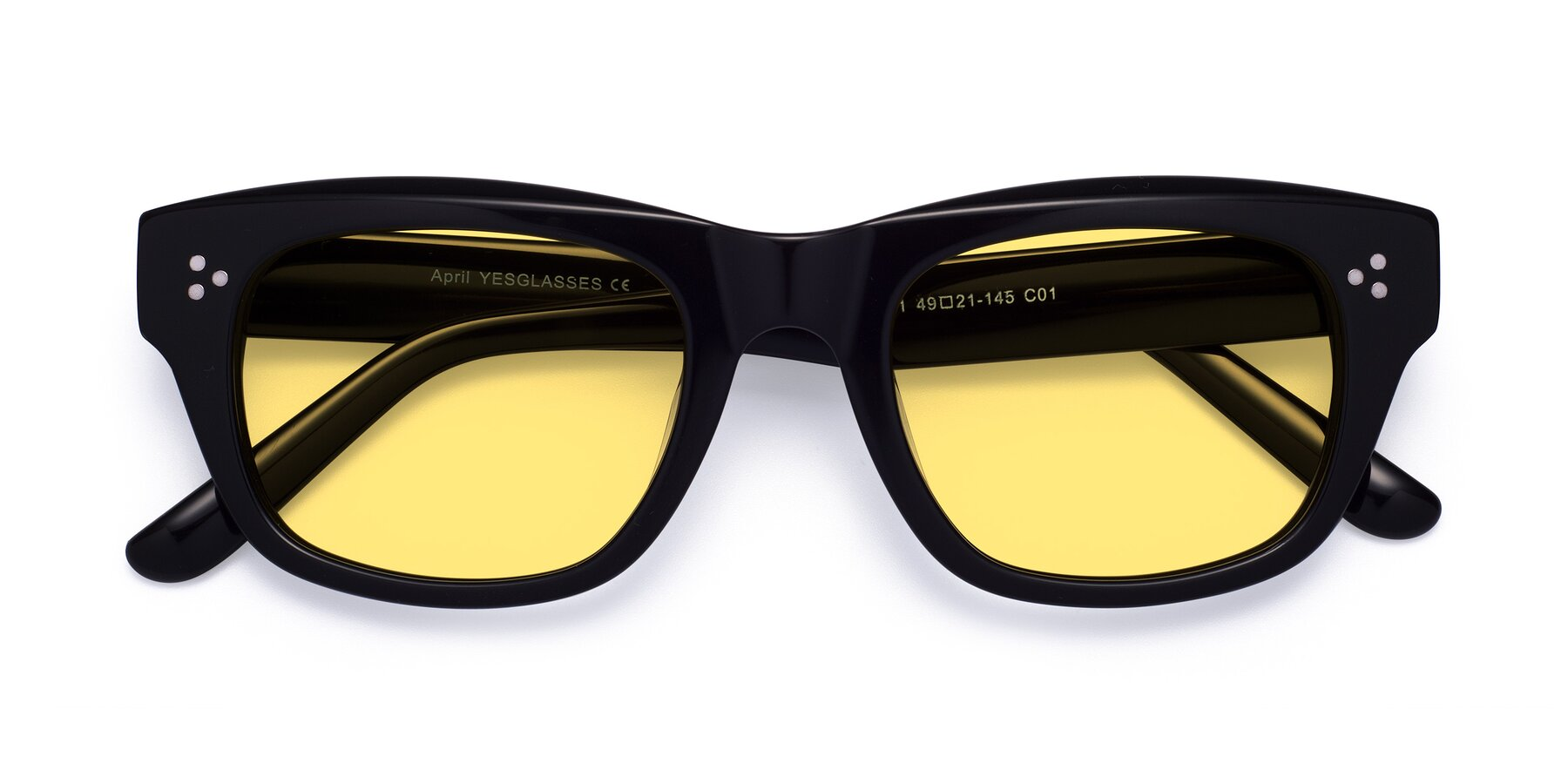 Folded Front of April in Black with Medium Yellow Tinted Lenses