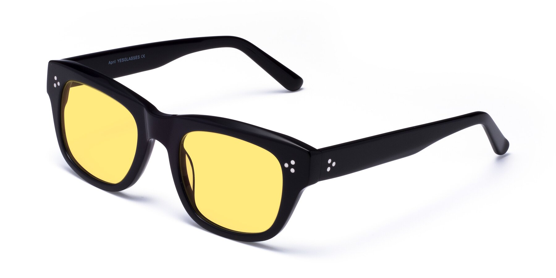 Angle of April in Black with Medium Yellow Tinted Lenses