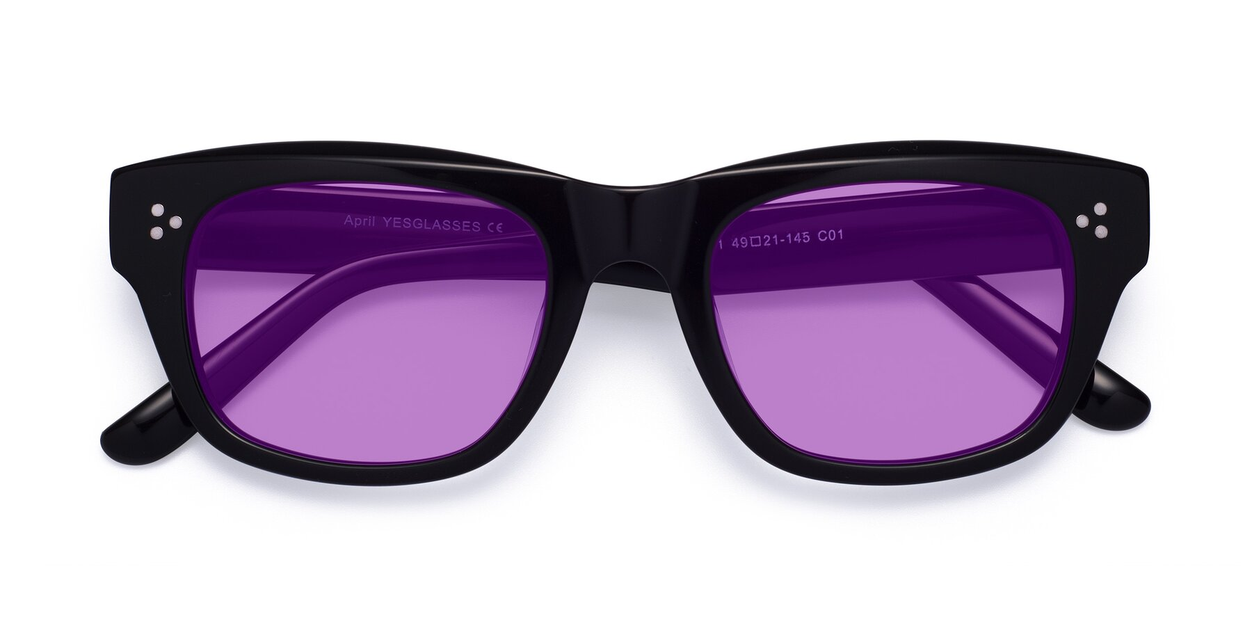 Folded Front of April in Black with Medium Purple Tinted Lenses