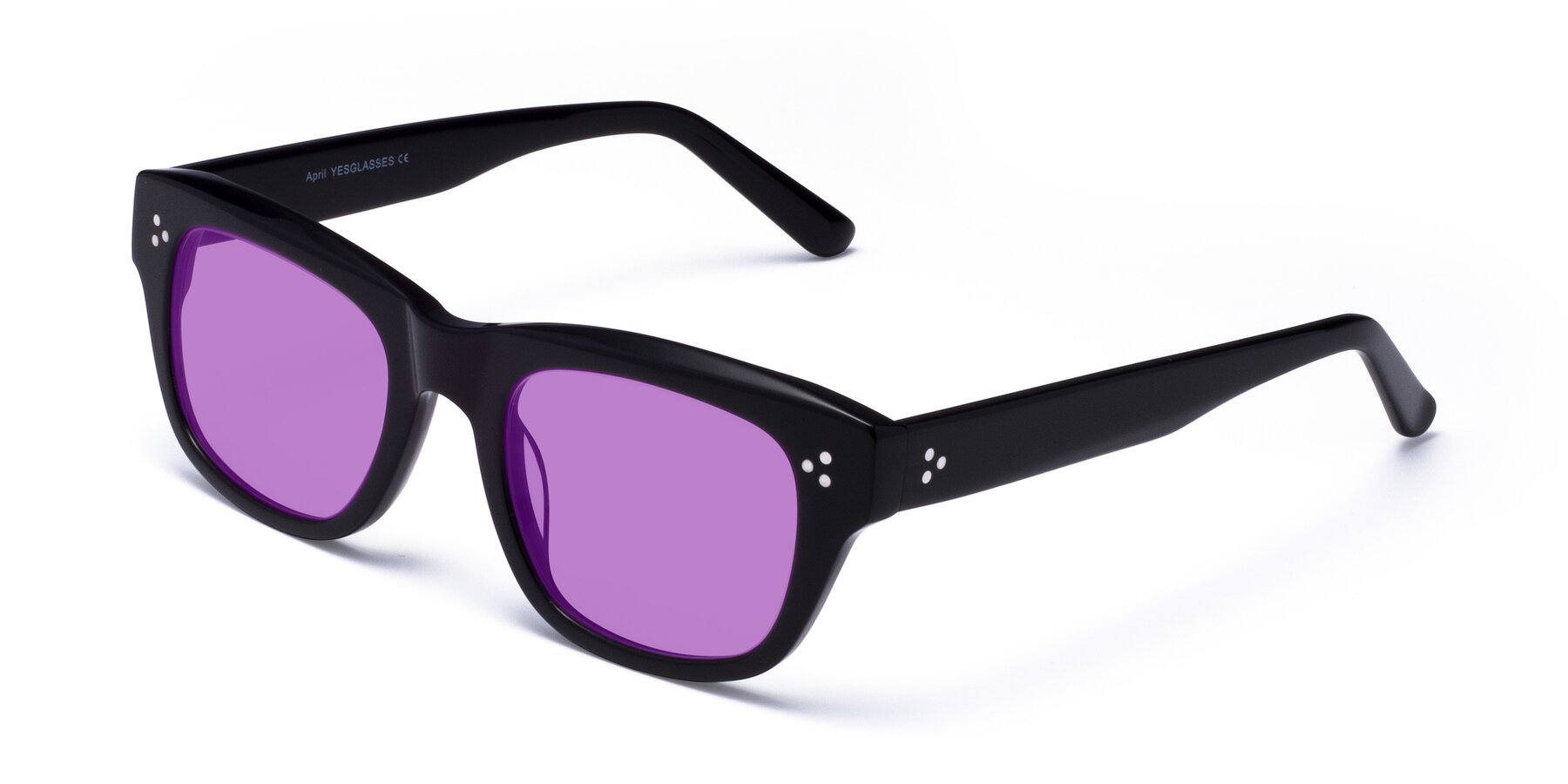 Angle of April in Black with Medium Purple Tinted Lenses
