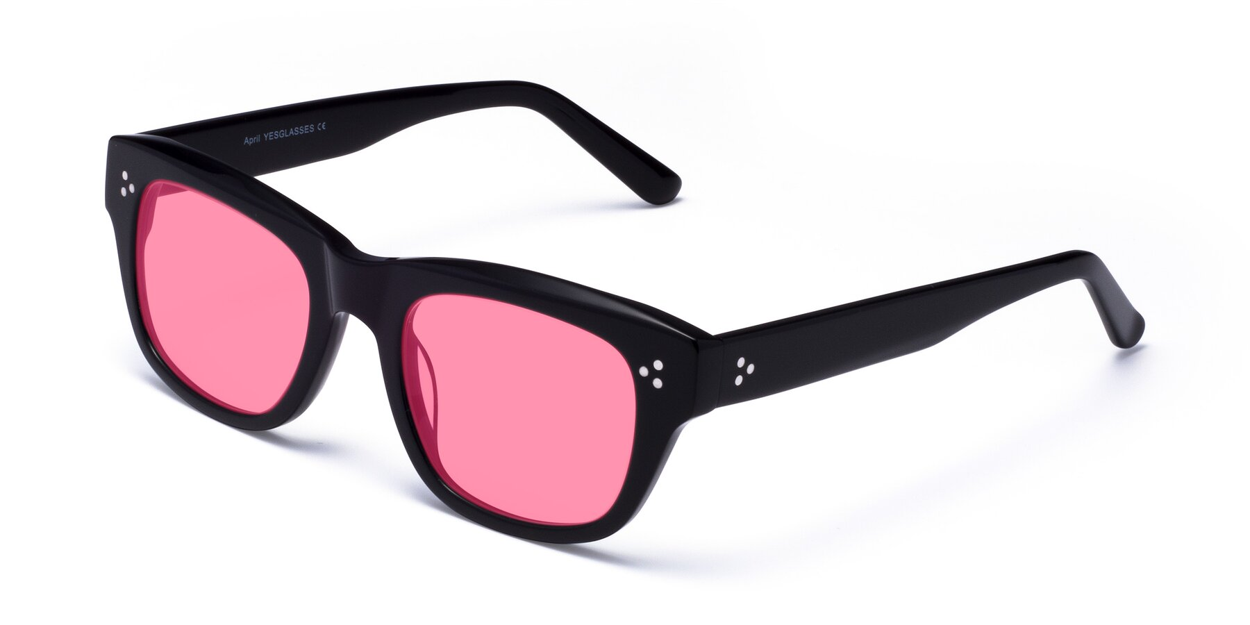 Angle of April in Black with Pink Tinted Lenses