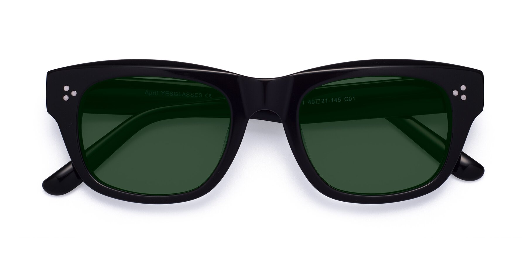Folded Front of April in Black with Green Tinted Lenses