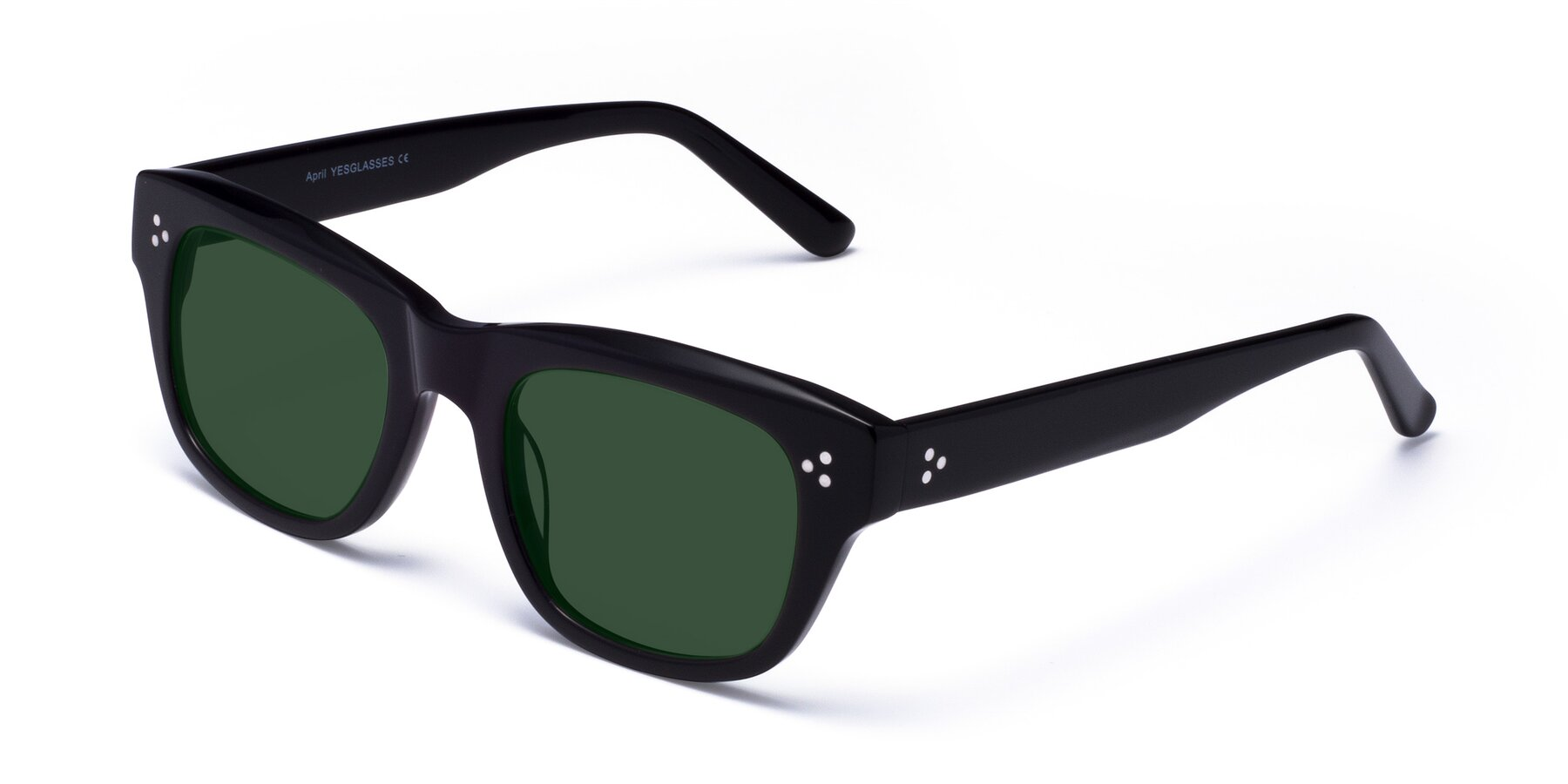 Angle of April in Black with Green Tinted Lenses
