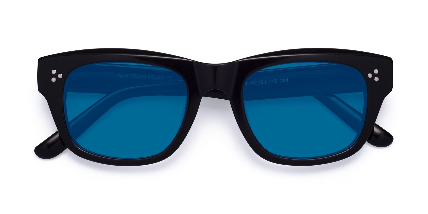 Folded Front of April in Black with Blue Tinted Lenses