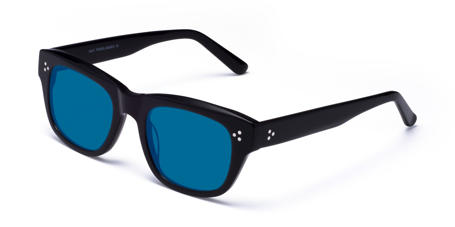 Angle of April in Black with Blue Tinted Lenses