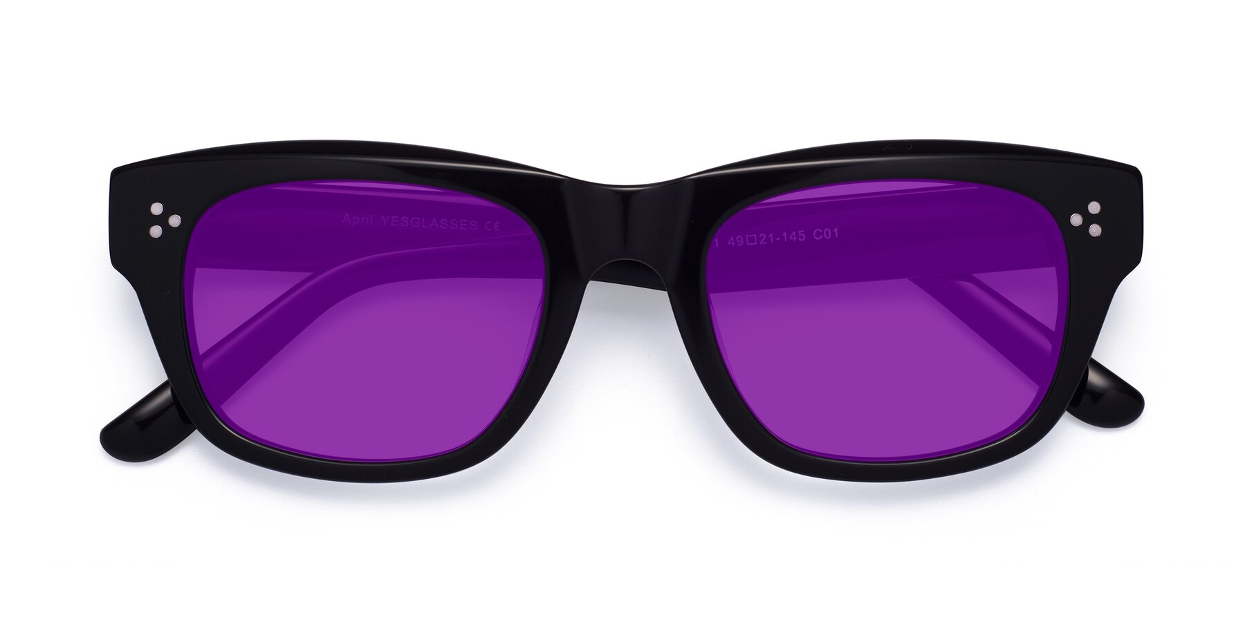 Folded Front of April in Black with Purple Tinted Lenses