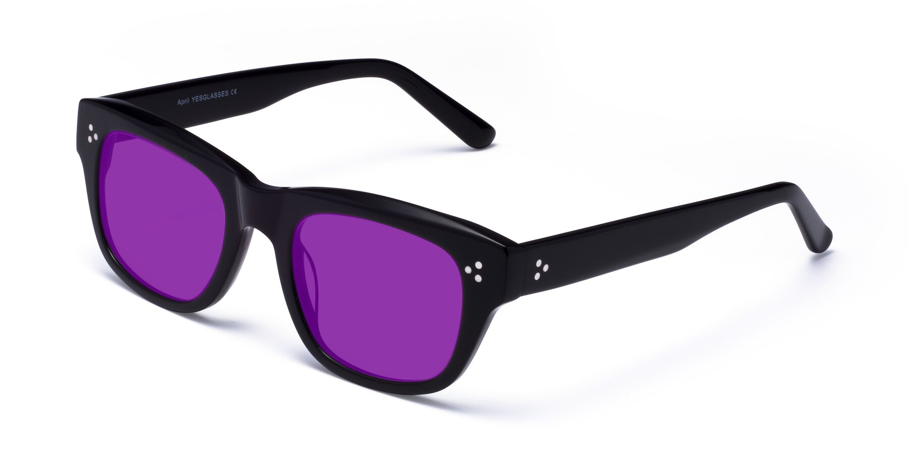 Angle of April in Black with Purple Tinted Lenses
