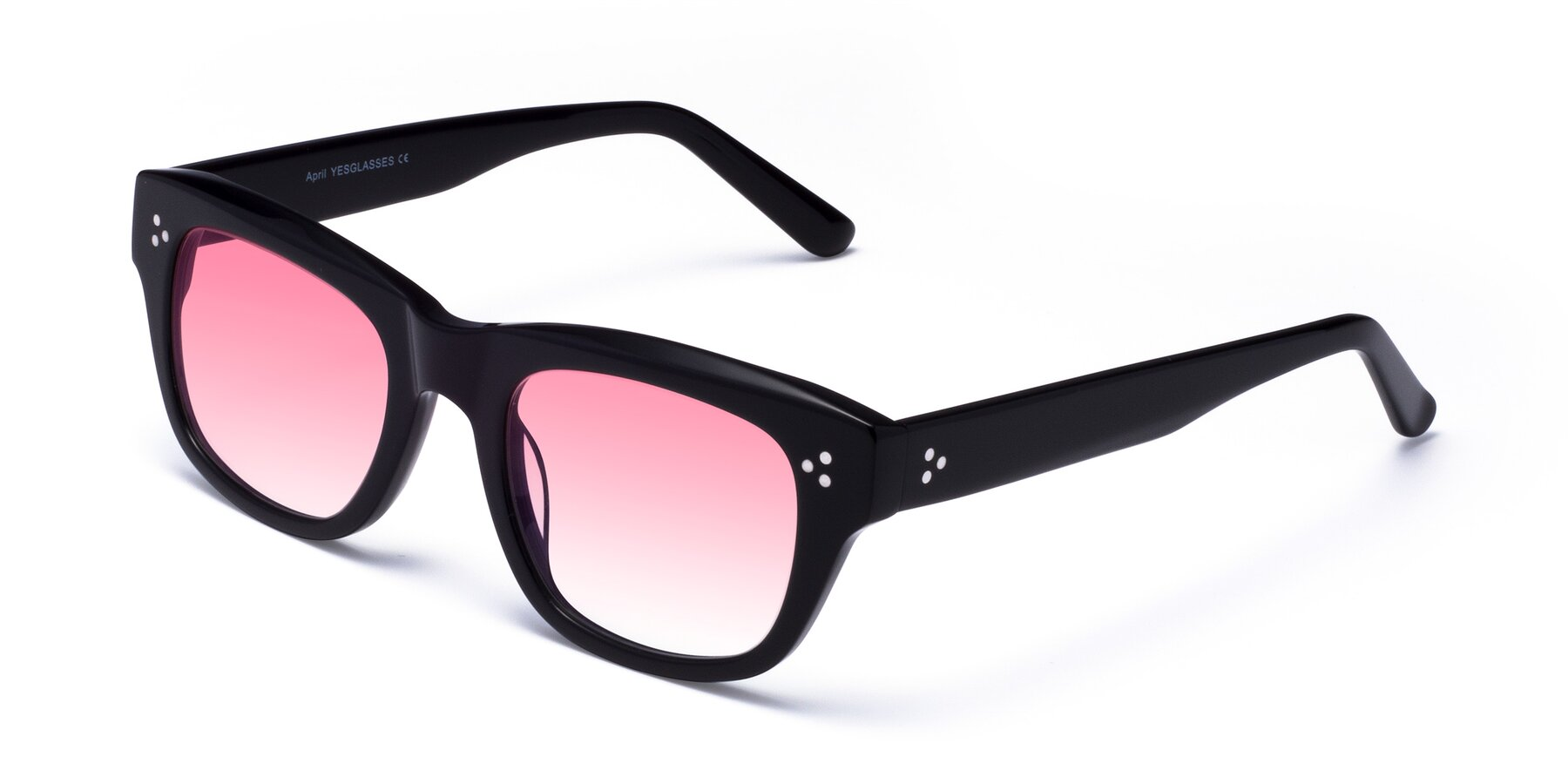 Angle of April in Black with Pink Gradient Lenses