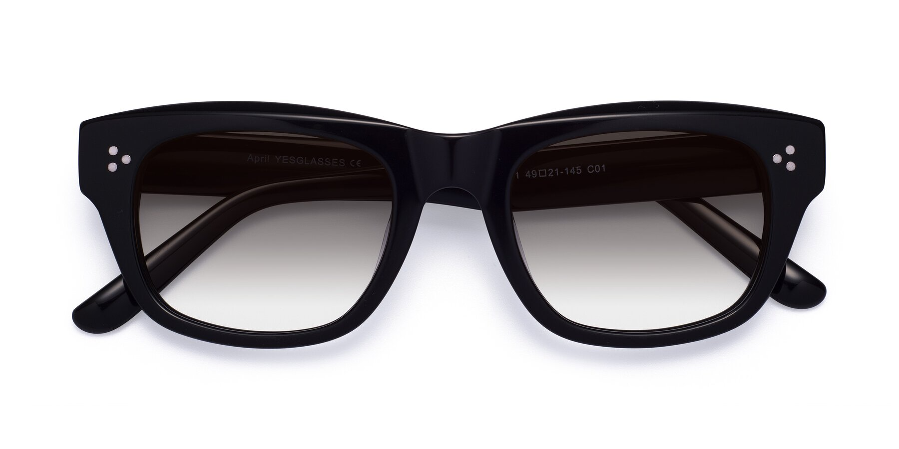 Folded Front of April in Black with Gray Gradient Lenses