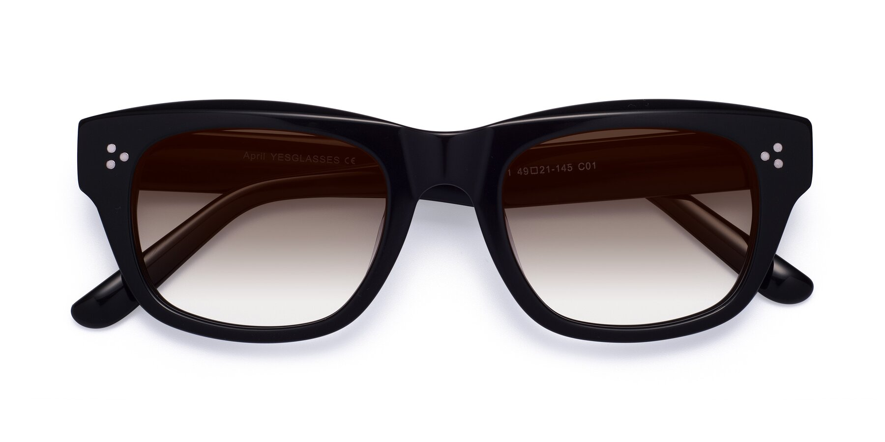 Folded Front of April in Black with Brown Gradient Lenses