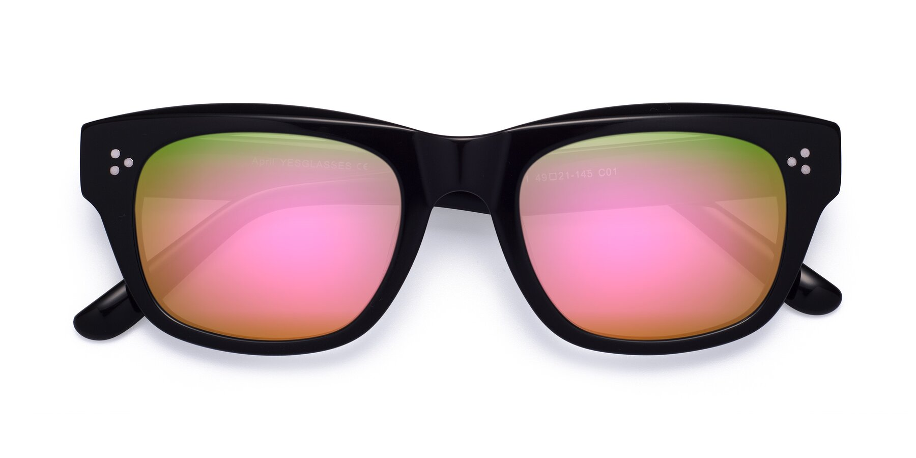 Folded Front of April in Black with Pink Mirrored Lenses