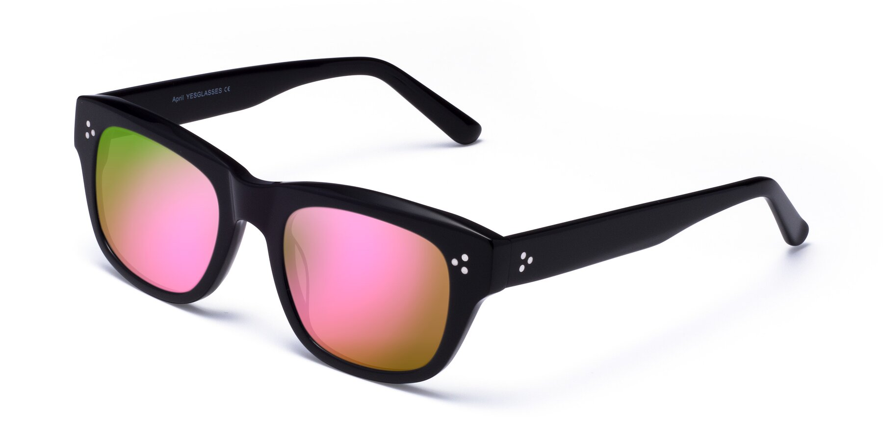 Angle of April in Black with Pink Mirrored Lenses