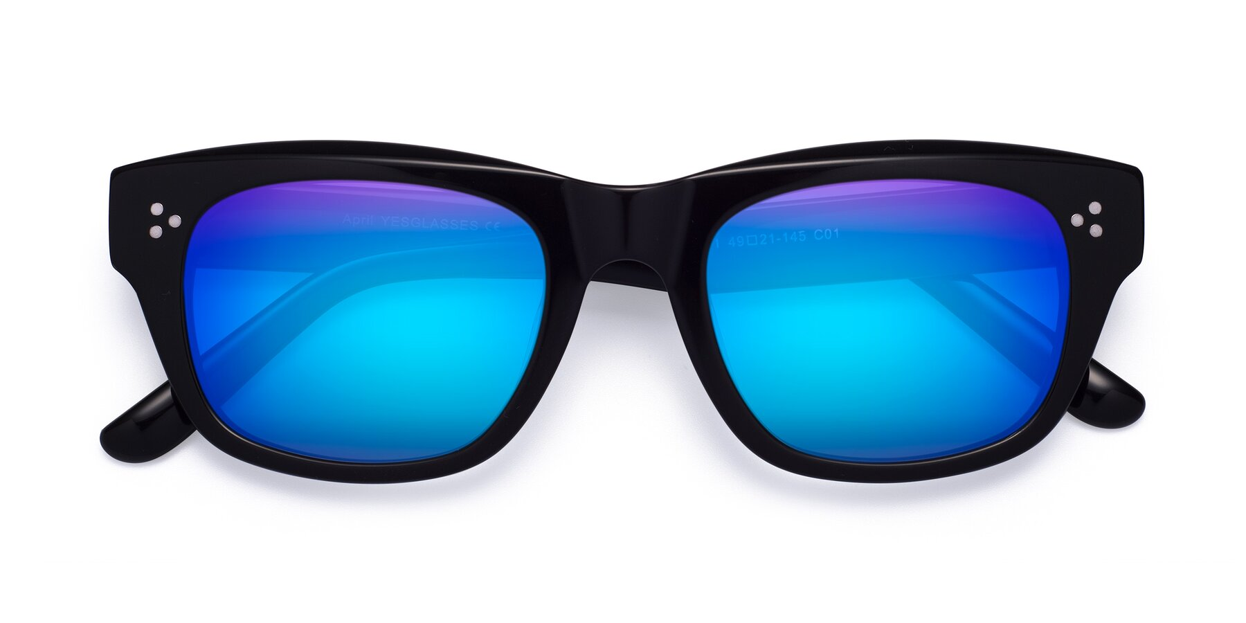 Folded Front of April in Black with Blue Mirrored Lenses