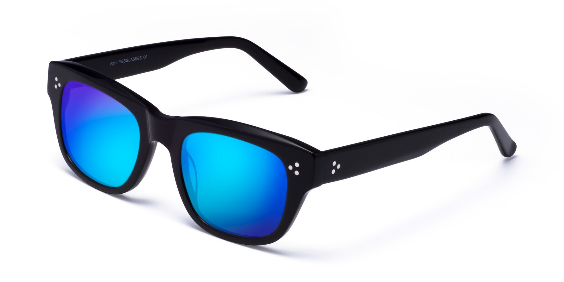 Angle of April in Black with Blue Mirrored Lenses