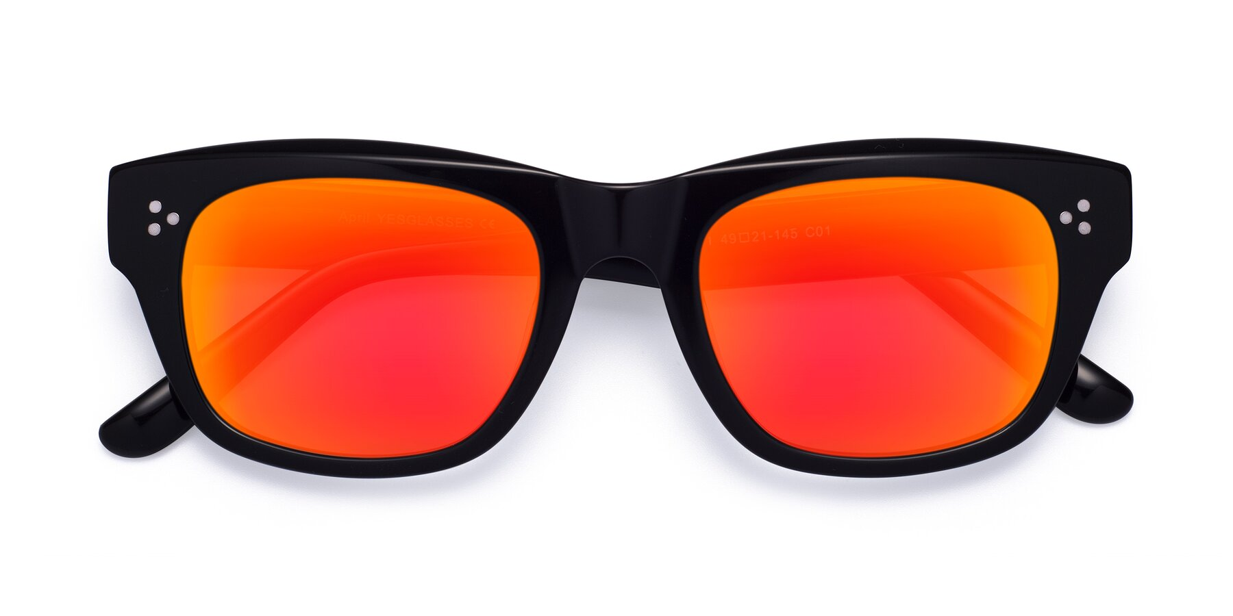Folded Front of April in Black with Red Gold Mirrored Lenses