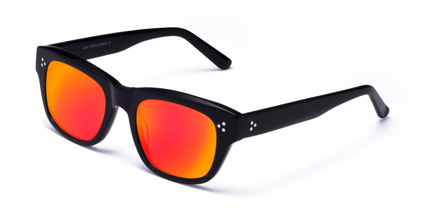 Angle of April in Black with Red Gold Mirrored Lenses